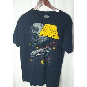 Star Wars TShirt Large Blue Death Star Falcon